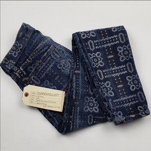 Current/Elliott Stilleto Bandana blue skinny jeans